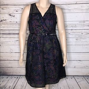Lane Bryant 18 Grid Overlay w/ Floral Lining Dress